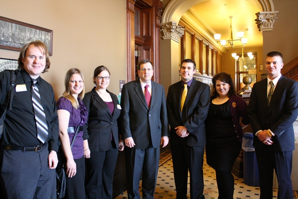 Speaker Kraig Paulsen (R) Hiawatha chatted with the students about the St. Louis Cardinals