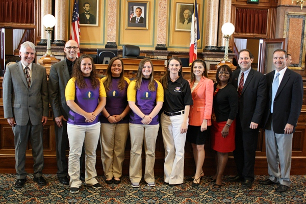 UNI Women's Rugby players honored at the Statehouse